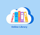 Online Library, Books in Cloud on Blue Vector