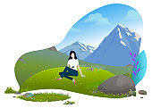 Girl Sitting on Grass Mountains Background Vector