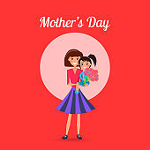 Mothers Day Poster with Woman and Little Girl