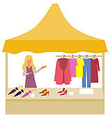 Shopping at Market, Salesperson with Clothes Store