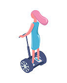 Girl Riding Segway, Electric Transport, Eco Vector
