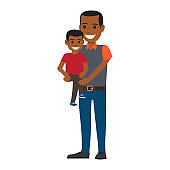 Happy Black Man Holding his Little Son to Hands