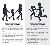 Two Active Lifestyle Bright Vector Illustrations