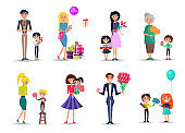 Characters with Bouquets and Gift Boxes Collection