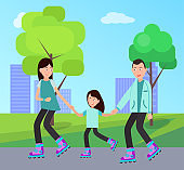 Family Roller Skating Together Vector Illustration