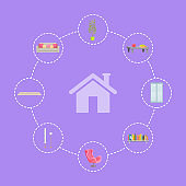 Home Interior Icons Set Lines Vector Illustration
