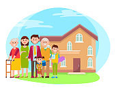 Family anf Building Poster Vector Illustration