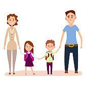 Happy Cartoon Family with Small Kids Illustration