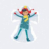 Happy Girl Makes Snow Angel. Winter Illustration
