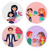 Set of Four Icons with Gifts and Flowers for Girls