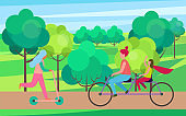 Mother Daughter Riding Bicycle in Tree Park Vector