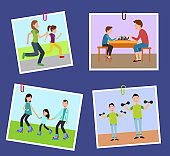 Four Family`s Pictures Fixed on Color Paper Clips