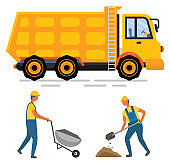 Truck and Wheelbarrow, Worker Digging, Auto Vector