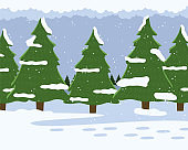 Winter forest with fir-trees, snow-covered spruces, cold snowy weather with falling snowflakes