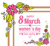 Happy Womens Day 8 March, Vector Illustration