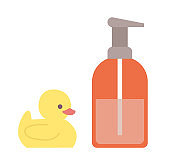 Rubber Duck Toy and Lotion in Bottle Hygiene Care
