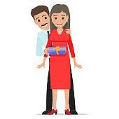 Husband Makes his Wife Present. Cartoon People.