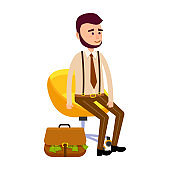 Young Hipster Sitting on Yellow Chair Money Bag