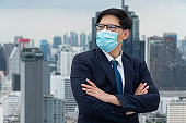 Young office worker with face mask quarantine from coronavirus or COVID-19.