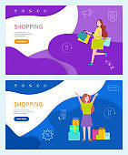 Shopping Standing and Running Happy Girls Vector