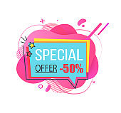 Special Offer 50 Percent Off Price Cut Banner