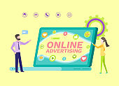 Online Advertisement, People with Laptop Scren