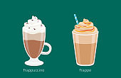 Frappuccino and Frappe in Glass Cups on Green