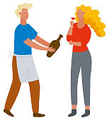 Man Offering Wine to Woman with Glass Vector