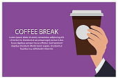 Office Break Hand and Cup Vector Illustration