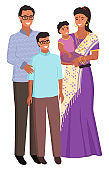 Indian Family Man and Woman with Children Vector