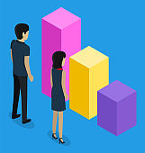 3d isometric, office workers looking at growing or falling graph, analysis info, visual statistic