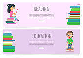 Reading or Education on Two Horizontal Banners