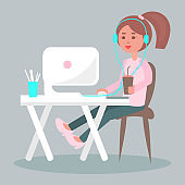 Working on Computer with Coffee Flat Vector
