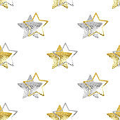 Seamless pattern golden & silver stars white background isolated, decorative shiny stars repeating ornament, bright glittering Сhristmas starry decoration backdrop, New Year wallpaper, holiday texture