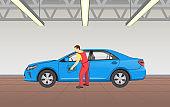 Car Polishing in Garage Job Vector Illustration