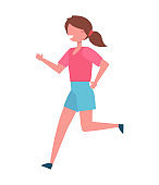 Running Girl Color Icon Vector Illustration Female