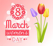 8 March Womens Day Banner Vector Illustration