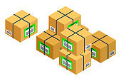 Cardboard packaging boxes, parcels, packaged goods. Trade, shopping. Isometric image on white