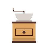 Coffee Grinder, Mill Machine, Flat View Vector