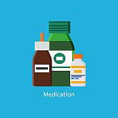 Medication Promo Banner with Full Jars of Liquids