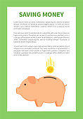 Saving Money in Special Pig Money Container Logo