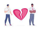 Broken heart. Parting homosexual couple.