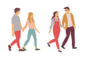 Man and Woman Holding Hands, Set of Couples Vector