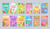 Best Summer Sale Posters Set Vector Illustration