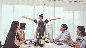 Successful business people celebrating success.