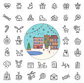 Christmas Holiday Line Icons City Street in Winter