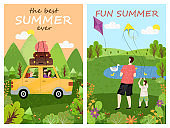 Fun Summer and Best Summertime Posters Vector