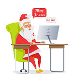 Merry Christmas Banner of Santa Mail Isolated