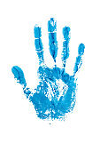 Blue watercolor print of human hand on white background isolated close up, handprint illustration, colorful palm and fingers silhouette mark, one hand shape painted stamp, stop sign, drawing imprint