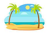 Sun and Recreation on Beach Vector Illustration